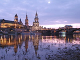 River Elbe, Skyline with Bruhlsche Terrasse, Hofkirche and Semper Opera, Dresden, Saxony, Germany,  Photographic Print by Hans-Peter Merten