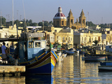 View across Harbour with Traditional Luzzu Fishing Boats, Marsaxlokk, Malta, Mediterranean, Europe Photographic Print by Stuart Black