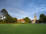 Village Green and Church, Brockham, Surrey Hills, Surrey, England, United Kingdom, Europe Photographic Print by John Miller