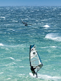 Big Jump Windsurfing in High Levante Winds in the Strait of Gibraltar, Valdevaqueros, Tarifa, Andal Photographic Print by Giles Bracher