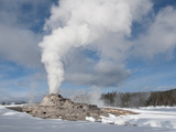 Castle Geyser Erupting in Winter Landscape, Yellowstone National Park, UNESCO World Heritage Site,  Photographic Print by Kimberly Walker