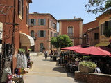 Street Scene in the Ochre Coloured Town of Roussillon, Parc Naturel Regional Du Luberon, Vaucluse,  Photographic Print by Peter Richardson