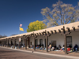 Pueblo Indians Selling their Wares at the Palace of Governors, Built in 1610, Santa Fe, New Mexico, Photographic Print by Richard Maschmeyer