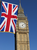 Big Ben with Union Flag, Westminster, UNESCO World Heritage Site, London, England, United Kingdom,  Photographic Print by Stuart Black