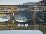 Ponte Vecchio Reflected in the River Arno, Florence, UNESCO World Heritage Site, Tuscany, Italy, Eu Photographic Print by Nico Tondini