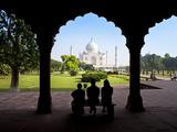 Taj Mahal, UNESCO World Heritage Site, Viewed Through Decorative Stone Archway, Agra, Uttar Pradesh Photographic Print by Gavin Hellier