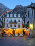 Quiet Cafe in the Old Town of Kotor at Night, Kotor, UNESCO World Heritage Site, Montenegro, Europe Photographic Print by Martin Child
