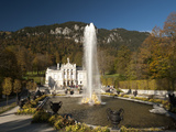 Linderhof Castle with Fountain in Pond and Alps Behind, Bavaria, Germany, Europe Photographic Print by Richard Nebesky