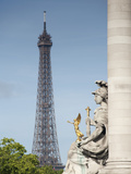 Statue on the Alexandre Iii Bridge and the Eiffel Tower, Paris, France, Europe Photographic Print by Richard Nebesky