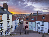 Whitby Town Houses at Sunset from the Abbey Steps, Whitby, North Yorkshire, Yorkshire, England, Uni Photographic Print by Neale Clark