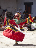 Buddhist Monks Performing Masked Dance During the Gangtey Tsechu at Gangte Goemba, Gangte, Phobjikh Photographic Print by Lee Frost