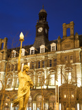 Statue of Morn and Old Post Office in City Square at Dusk, Leeds, West Yorkshire, Yorkshire, Englan Photographic Print by Mark Sunderland