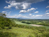 Summer View East Along the Surrey Hills, from White Down, Dorking in the Distance, North Downs, Sur Photographic Print by John Miller