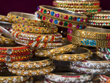 Colourful Braclets for Sale in a Shop in Jaipur, Rajasthan, India, Asia Photographic Print by Gavin Hellier