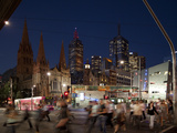 St. Paul's Cathedral and Federation Square at Night, Melbourne, Victoria, Australia, Pacific Photographic Print by Nick Servian