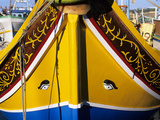 Bow of Traditional Maltese Luzzu Fishing Boat with the Eye of Osiris, Malta, Mediterranean, Europe Photographic Print by Stuart Black