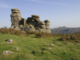 A Rock Outcrop on Hound Tor with Haytor Rocks on the Skyline, Dartmoor National Park, Devon, Englan Photographic Print by James Emmerson