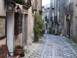 View Down Narrow Cobbled Street, Erice, Sicily, Italy, Europe Photographic Print by Stuart Black