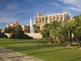 View from Parc De La Mar to the Almudaina Palace and Cathedral, Palma De Mallorca, Mallorca, Balear Photographic Print by Ruth Tomlinson