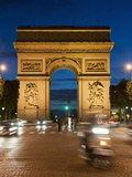 Traffic around Arc De Triomphe, Avenue Des Champs Elysees, Paris, France, Europe Photographic Print by Richard Nebesky