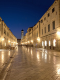 Looking Along Stradrun at Dusk, Old Town, Dubrovnik, Croatia, Europe Photographic Print by Martin Child