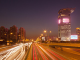 Busy Traffic and Light Trails Through City Centre, Beijing, China, Asia Photographic Print by Neale Clark