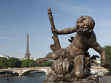 Statue on the Alexandre Iii Bridge, River Seine and the Eiffel Tower, Paris, France, Europe Photographic Print by Richard Nebesky