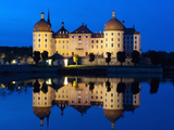 Baroque Moritzburg Castle and Reflections in Lake at Twilight, Moritzburg, Sachsen, Germany, Europe Photographic Print by Richard Nebesky