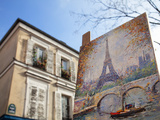 Painting for Sale in the Place Du Tertre, Montmartre, Paris, France, Europe Photographic Print by Martin Child