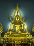 Statue of the Sitting Buddha, Wat Benchamabophit (Marble Temple), Bangkok, Thailand, Southeast Asia Photographic Print by Richard Maschmeyer