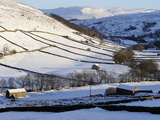 Stone Barns in a Winter Landscape, Swaledale, Yorkshire Dales National Park, North Yorkshire, Engla Photographic Print by Peter Richardson