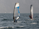 Windsurfers at Torbole Del Garda, Lake Garda, Trentino-Alto Adige, Italian Lakes, Italy, Europe Photographic Print by Sergio Pitamitz