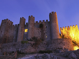 Obidos Castle, Today Used as a Luxury Pousada Hotel, Partially Illuminated at Night, Obidos, Estrem Photographic Print by Stuart Forster