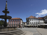 Fountain and Cafes on the Public Camoes Square (Largo De Camoes), Ponte De Lima, Minho, Portugal, E Photographic Print by Stuart Forster