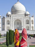 Women in Colourful Saris at the Taj Mahal, UNESCO World Heritage Site, Agra, Uttar Pradesh State, I Photographic Print by Gavin Hellier