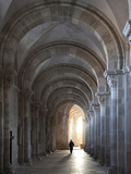 Interior North Nave Aisle with Priest Walking Away, Vezelay Abbey, UNESCO World Heritage Site, Veze Photographic Print by Nick Servian