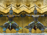 Statues of Demons on the Golden Chedi, Wat Phra Kaeo Complex (Grand Palace Complex), Bangkok, Thail Photographic Print by Richard Maschmeyer
