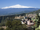 View over Taormina and Mount Etna, Taormina, Sicily, Italy, Europe Photographic Print by Stuart Black