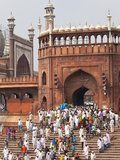 People Leaving the Jama Masjid (Friday Mosque) after the Friday Prayers, Old Delhi, Delhi, India, A Photographic Print by Gavin Hellier