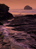 Sunset, Trebarwith Strand, Cornwall, England, United Kingdom, Europe Photographic Print by Jeremy Lightfoot