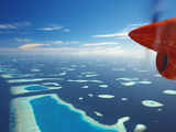 Aerial View of Atolls, Maldives, Indian Ocean, Asia Photographic Print by Sakis Papadopoulos