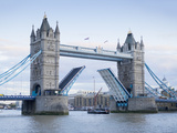 Tower Bridge Opening and River Thames, London, England, United Kingdom, Europe Photographic Print by Marco Simoni