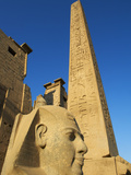 Statue of the Pharaoh Ramesses Ii and Obelisk, Temple of Luxor, Thebes, UNESCO World Heritage Site, Photographic Print by  Tuul