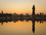 Statue of Shiva Rising Out of a Lake Sur Sagar in the Centre of Vadodara, Gujarat, India, Asia Photographic Print by Mark Chivers