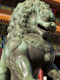 Male Bronze Lion, Gate of Supreme Harmony, Outer Court, Forbidden City, Beijing, China, Asia Photographic Print by Neale Clark
