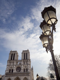 Notre Dame Cathedral and Lamp, Paris, France, Europe Photographic Print by Martin Child