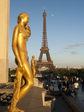 Statues of Palais De Chaillot and Eiffel Tower, Paris, France, Europe Photographic Print by Richard Nebesky