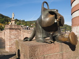 Sculpture at the Alte Brucke (Old Bridge) in Old Town, Heidelberg, Baden-Wurttemberg, Germany, Euro Photographic Print by Michael DeFreitas