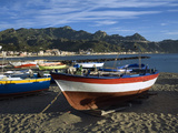 Fishing Boats on Beach, Giardini Naxos, Sicily, Italy, Mediterranean, Europe Photographic Print by Stuart Black