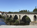 The Medieval Arched Stone Bridge across the River Lima at the Town of Ponte Da Barca, Minho, Portug Photographic Print by Stuart Forster